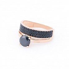 Золотое кольцо Сан-Ремо с черными фианитами