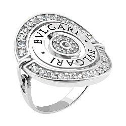 Серебряное кольцо в стиле Bulgari с фианитами 000066613