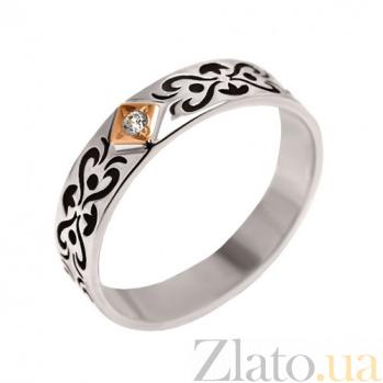 Серебряное кольцо с золотой вставкой и цирконием Бьянка BGS--458к