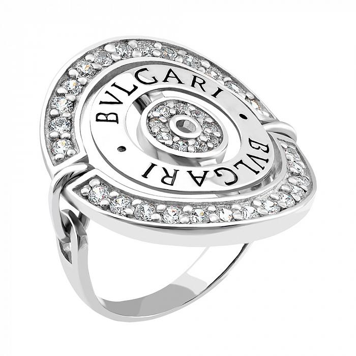 Серебряное кольцо Престиж в стиле Bulgari с фианитами 000066613