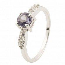 Серебряное кольцо Гелла с аметистом и фианитами