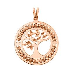 Кулон-Древо Жизни из красного золота с алмазной гранью 000131565