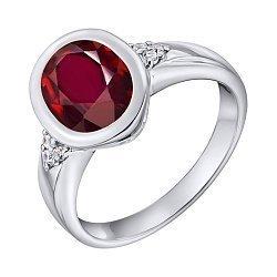Серебряное кольцо с красным завальцованным цирконием Swarovski и фианитами 000103124
