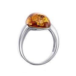 Серебряное кольцо с янтарем 000145873