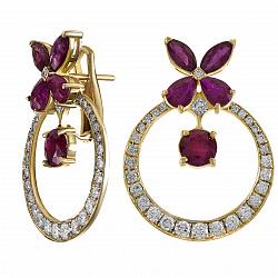Серьги-подвески из желтого золота Цветана с бриллиантами и рубинами