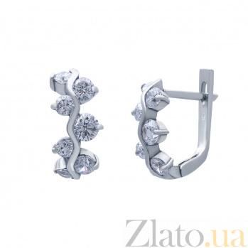 Серебряные серьги Варианна с фианитом AQA--20019б