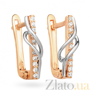 Золотые серьги с фианитами Юлия SUF--110323