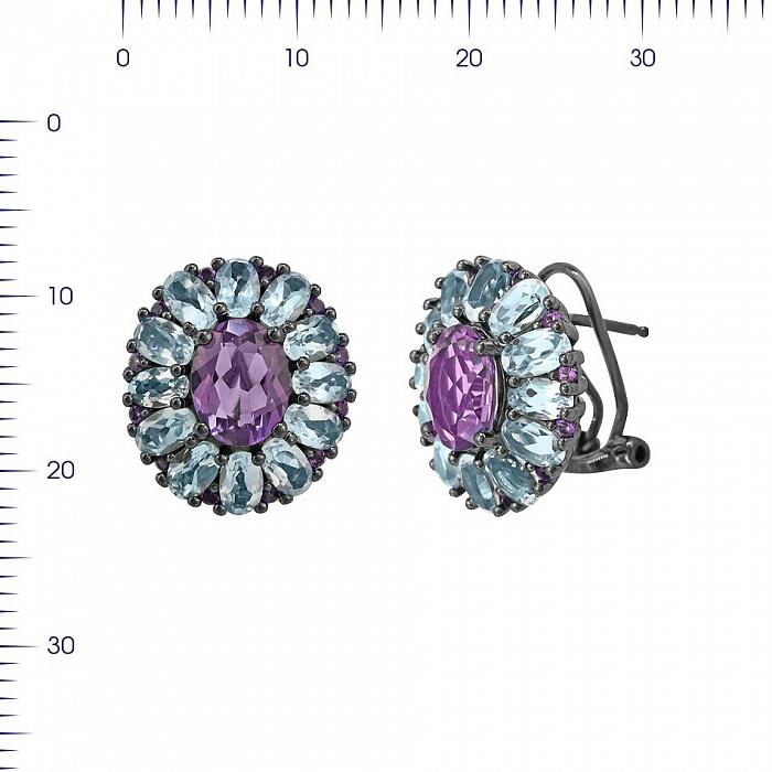 Серебряные серьги Василина с аметистом и топазами 000081835
