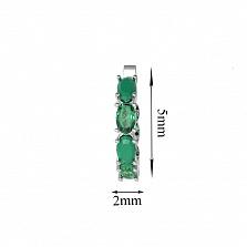 Серебряные серьги Каролина с зеленым агатом и зеленым кварцем