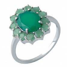 Серебряное кольцо Айгерим в форме цветка с изумрудами и агатами