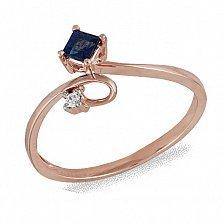 Кольцо из красного золота Ульяна с бриллиантом и сапфиром