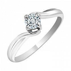 Золотое помолвочное кольцо Милдрит в белом цвете с фианитом