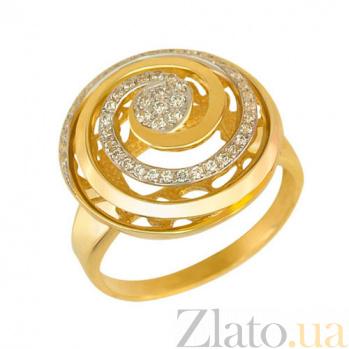 Золотое кольцо Водоворот с фианитами VLT--Т142-1