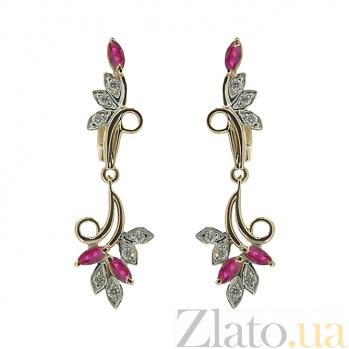 Серьги из красного золота с рубинами и бриллиантами Фия ZMX--EDR-5564_K