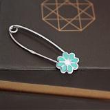 Серебряная булавка Цветик с бирюзовой эмалью
