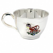 Серебряная чашка Коровка с эмалью