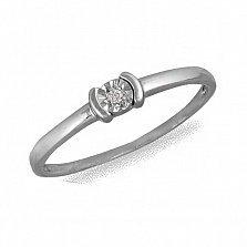 Кольцо из белого золота Сонет с бриллиантом