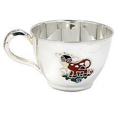 Серебряная чашка Коровка с эмалью 000043527