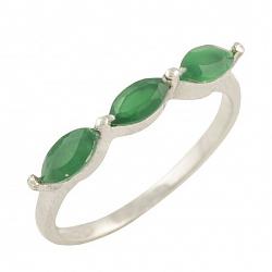 Серебряное кольцо Адония с зеленым агатом