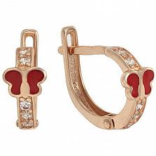 Золотые серьги Алиса с фианитами и эмалью