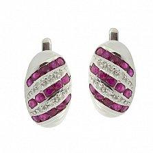 Серебряные серьги с рубинами и бриллиантами Беатрис