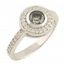 Серебряное кольцо Аглая с топазом мистик и фианитами