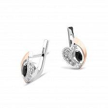 Серебряные серьги Сердце с золотыми накладками, черным и белыми фианитами