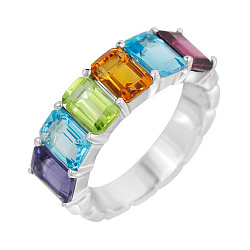 Кольцо в белом золоте с родолитом, кордиеритом, голубым топазом, хризолитом и цитрином 000105783