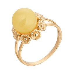 Позолоченное серебряное кольцо Княгиня с лимонным янтарем и крапанами в виде цветов