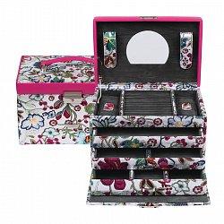 Розовая шкатулка для украшений WindRose Blossom с цветочным принтом