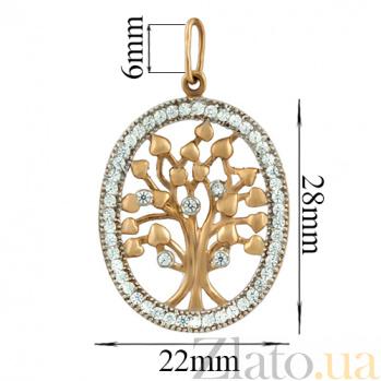 Золотой подвес Дерево жизни с фианитами LEL--62062кр