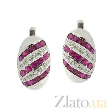 Серебряные серьги с рубинами и бриллиантами Беатрис ZMX--EDR-16530-Ag_K