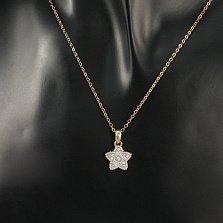 Серебряная подвеска Счастливая звезда в комбинированном цвете с фианитами