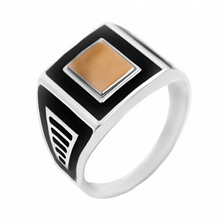 Серебряное кольцо с золотой вставкой Гамлет