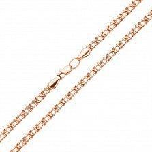 Цепочка из красного золота в плетении Арабский Бисмарк,3 мм 000121315