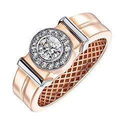 Золотой перстень-печатка в комбинированном цвете с фианитами 000138605
