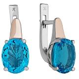 Серебряные серьги Кавалла со вставкой золота и голубым кварцем