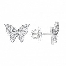 Серебряные серьги-пусеты Бабочки с фианитами