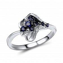 Кольцо из белого золота Лидия с бриллиантами и сапфирами