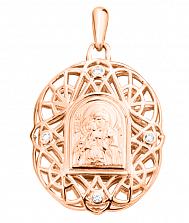 Золотая ладанка Богородица с младенцем на узорной основе и белыми фианитами
