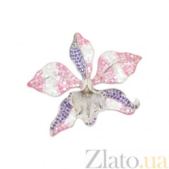 Серебряный подвес с перламутром и цирконием Орхидея 3П011-0002