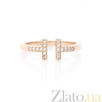 Золотое кольцо Кортни с разомкнутой шинкой и белыми фианитами в стиле Тиффани  000082412