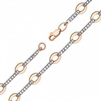 Браслет в комбинированном цвете золота с фианитами 000132833