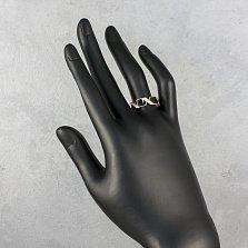 Золотое кольцо Анаит с черной эмалью и фианитами