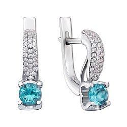 Серебряные серьги с топазами и фианитами 000146625