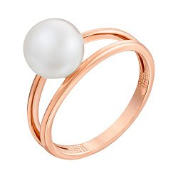 Золотое кольцо с белым жемчугом 000101664