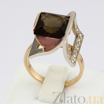 Золотое кольцо Эпатаж с гидротермальным раухтопазом и фианитами VLN--112-435-22