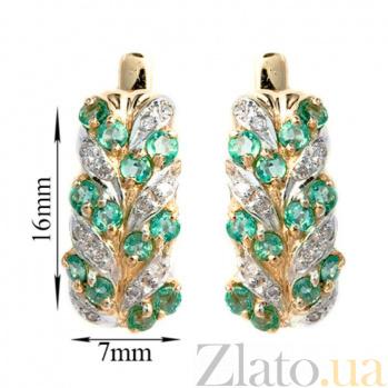 Золотые серьги с бриллиантами и изумрудами Колосок ZMX--EE-15431y_K