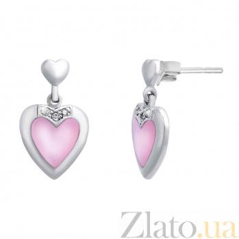 """Серебряные пусеты с перламутром """"Сердце"""" AQA--S223560190"""