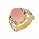 Золотое кольцо в жёлтом цвете с розовым опалом и бриллиантами Хайди